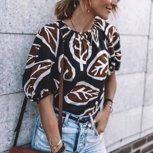 Who What Wear Leaf Print Blouse